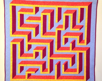 3D Maze / Labyrinth Quilt Pattern PDF - Hidden Paths