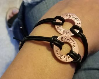 Custom Metal and Leather Location Bracelet