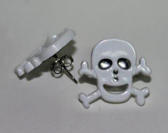 Black or White Skull Earrings