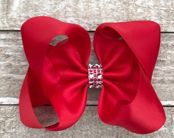 Red Satin Twisted Boutique Hair Bow With Rhinestone Center