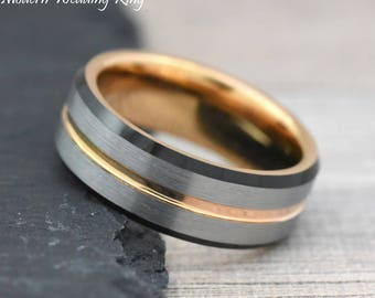 Unique Black and Rose Gold Tungsten Wedding Band Mens, Unique Engagement Ring Mens, Mens Engagement Ring, Mens Ring,Wedding Ring,Unique Gift