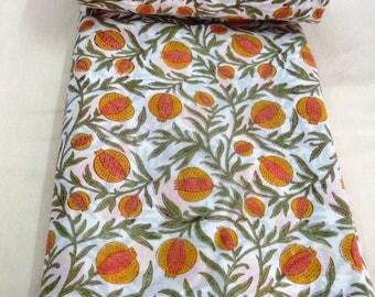 Floral Print Cotton Handmade loose Running Fabric Natural Sanganeri printed Dress Making Fabric