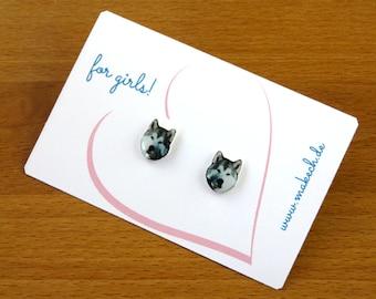 Girl children jewelry ear studs earrings Husky Silver 925