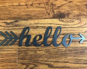 Hello Arrow Metal Sign