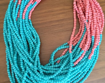 Teal and coral beaded necklace, statement necklace