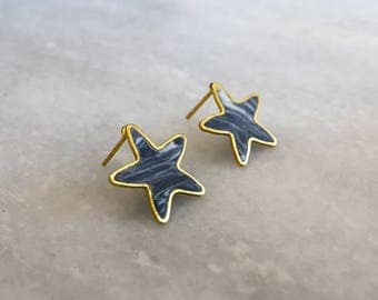 Gold star studs, polymer clay stars, rock and roll, reach for the stars