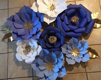 7pc blue, white and gold paper flower backdrop