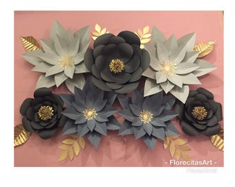 7pc Gray Giant Paper Flower Backdrop