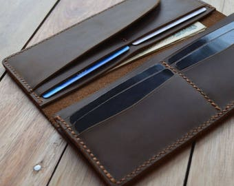 Distressed Leather Long Bifold Wallet