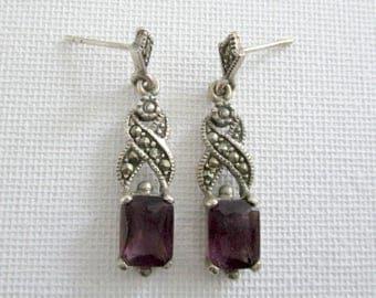 Amethyst and marcasite pierced earrings, purple and silver earrings, amethyst and sterling silver earrings