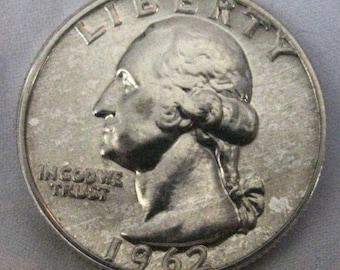 1962 Proof Washington Quarter 25 Cent US Coin Philadelpia Mint