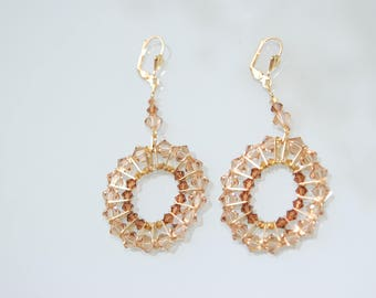 swarovski, crystal,golden brown, gold,earring, gift for her, jewelry for event,  set jewelry, gold brown earring, set, long