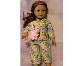 "Frogs & Flowers Flannel Pajamas with Snaps and Stuffed Animal  for 18"" Dolls. Clothes are Made in the USA. (American Girl Doll not included)"