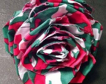 Fabric Rose Barrette Christmas Camouflage