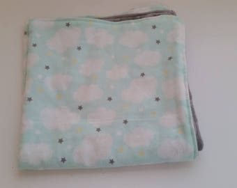 Baby Lovey Blanket - Security Blanket - Baby Boy - Clouds - Grey Minky Dot