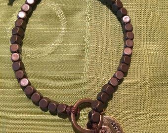 Copper beaded compass bracelet