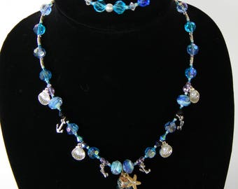 Beach themed necklace and bracelet duo
