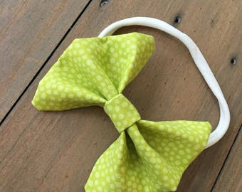 3 inch green bow headband