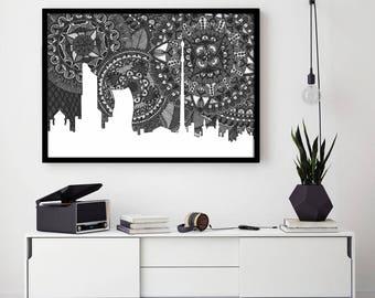 Moscow Skyline, Kremlin, Poster, Digital Print, Illustration, Russia, Zentangle, Doodle, Drawing, Home Decore, Black and White, Art, Bolshói