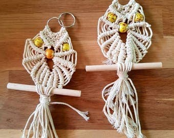 Macrame OWL for to your bag (or key ring etc etc)