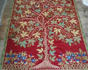 Hand Embroidered Wool Tree And Birds Rug From Kashmir India