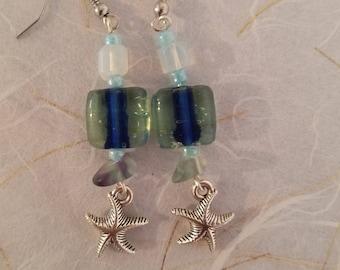 Starfish and Glass Bead Earrings