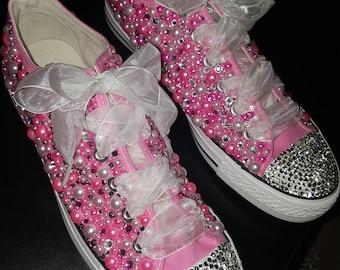 Pink Custom converse bling sneakers