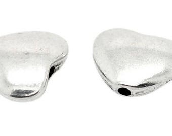 Smooth antique silver color heart shape beads
