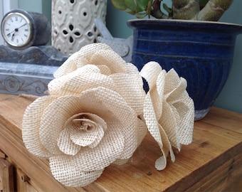 3 x large cream hessian flowers