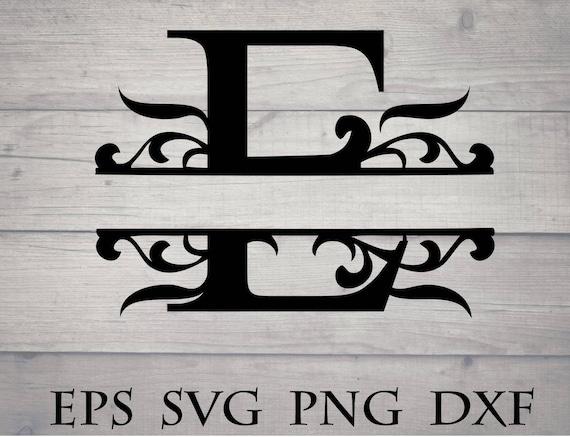 Split Initial Svg Split Letter E Monogram Svg Split