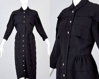 SALE XS 1950s Dress 50s Little Black Dress Mid Century Dress Wasp Waist Dress 50s Party Dress Evening Dress Hourglass Rhinestone Buttons