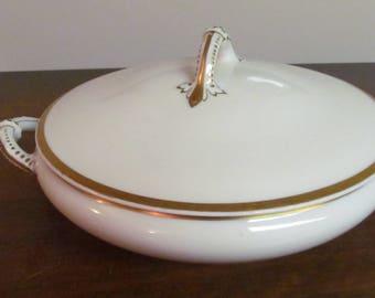 Vintage Limoges Covered Serving Dish Gold Trim