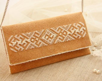 Cork clutch Natural cork handbag Vegan bag Slavic style Beadwork Embroidered clutch Сork fabric
