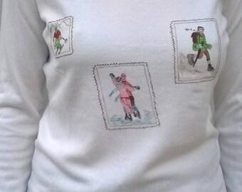 """""""Memories"""" on white V-neck sweater, size 3"""
