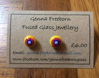 Yellow and red star flower millefiori glass stud earrings
