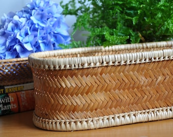 Long vintage basket planter / plant holder for multiple pots - woven boho style