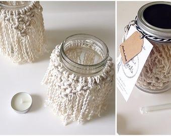 Macrame Vase Candle + Jar   Macrame Jar Gift Jar