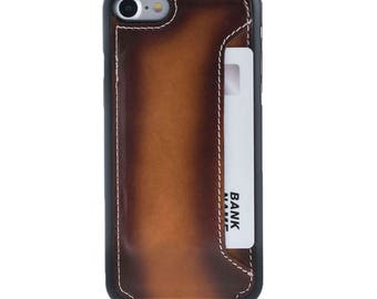 Hand Painted Vegetable Tanned Genuine Leather Slim Flip Case for Apple iPhone 7 / 8