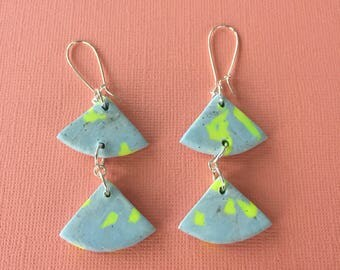 Triangle Dangle Earrings - Blue with a dash of Neon Yellow