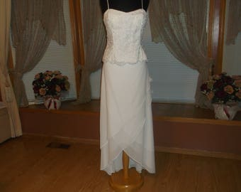 White/Silver 2pc Beaded Lace Crepe Wedding Reception Dress