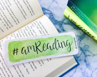 Aquarel bookmark - '#amreading'