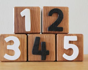 Oak number blocks // handmade //personalised // for toddlers // wooden numbers // stacking blocks // building blocks // first blocks