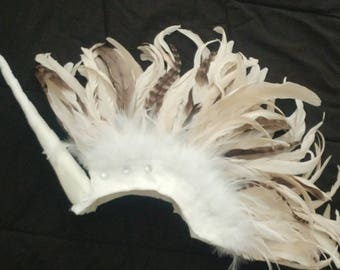 White Unicorn Feather Mohawk Princess Headdress with Beige and Champagne tones