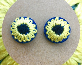 Sunflower on denim - hand embroidered earring studs