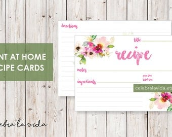 Recipe Card. Instant Download. Printable Recipe Card. Pink Flowery.