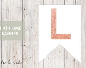 DIY Banner - 'L'. Instant Download. Printable Banner Letters. Pink Glitter. - 01