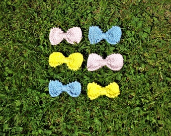 Knit Bow Hair Clips
