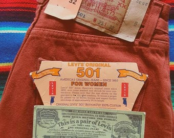 """Deadstock Vintage 90's Levi's 501 """"FOR WOMEN"""" 25 X 32 Rust / Red / Brown / Orange Made In USA"""