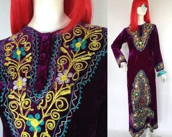 Vintage 1960s / 70s embroidered Hippie maxi Ethnic Kaftan DRESS / Velvet / Folklore / Festival / Boho / Woodstock / Hendrix