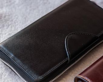 Travel wallet, leather Passport Wallet, document wallet, Gift for Dad Leather Clutch, Zip around Wallet, Wristlet Wallet, Phone Wallet